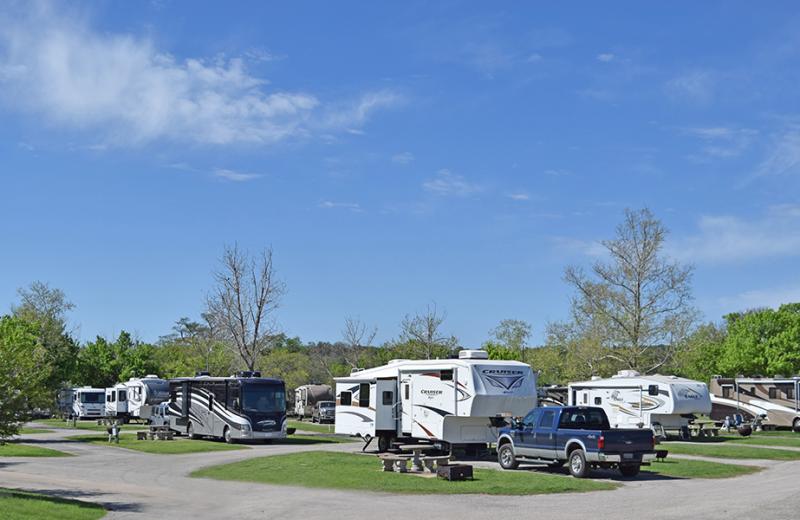 RV campsite at Yogi Bear's Jellystone Park Guadalupe.
