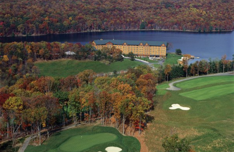 Aerial view of resort during fall at Rocky Gap Casino Resort.