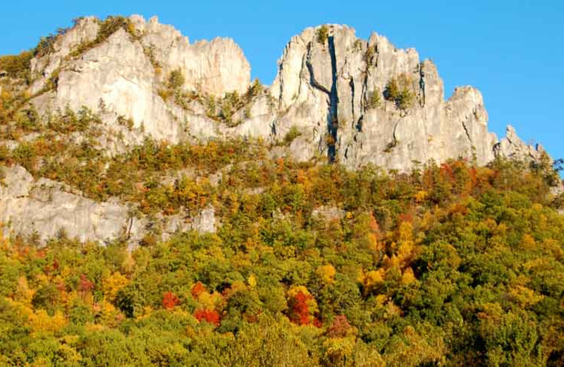 Seneca Rocks near Smoke Hole Caverns & Log Cabin Resort.