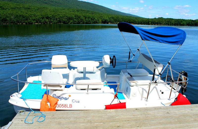 Pontoon boat rental at Rocky Gap Casino Resort.