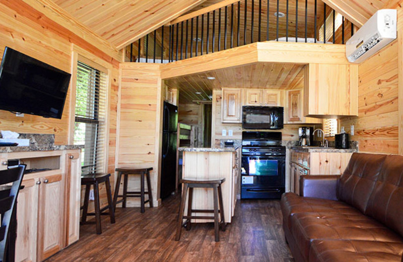 Cabin interior at Yogi Bear's Jellystone Park Guadalupe.