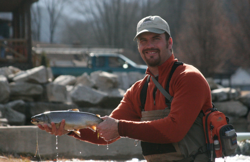 Catch and release trout fishing at Smoke Hole Caverns & Log Cabin Resort.