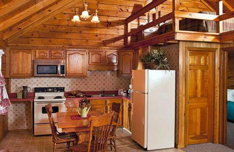 Cabin interior at Smoke Hole Caverns & Log Cabin Resort.