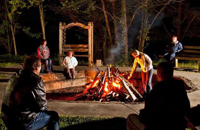 Campfire at Smoke Hole Caverns & Log Cabin Resort.
