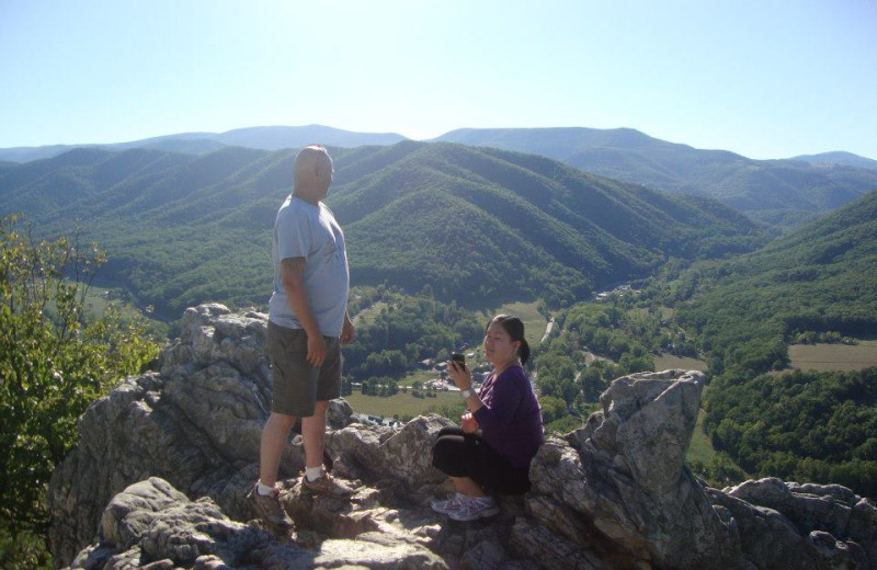 Hiking in Seneca Rocks near Smoke Hole Caverns & Log Cabin Resort.