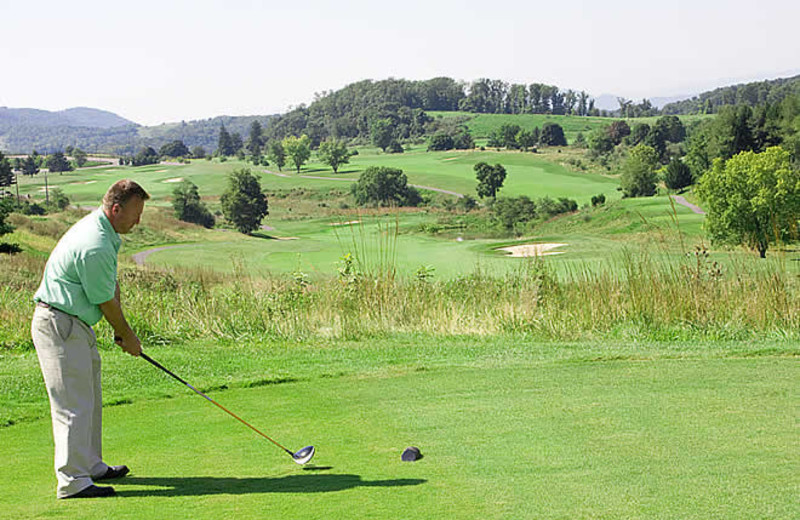 Playing golf at Rocky Gap Casino Resort.