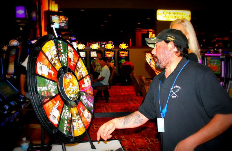 Playing the prize wheel at Rocky Gap Casino Resort.