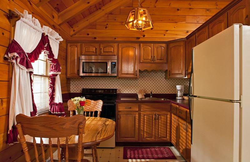Cabin kitchen at Smoke Hole Caverns & Log Cabin Resort.