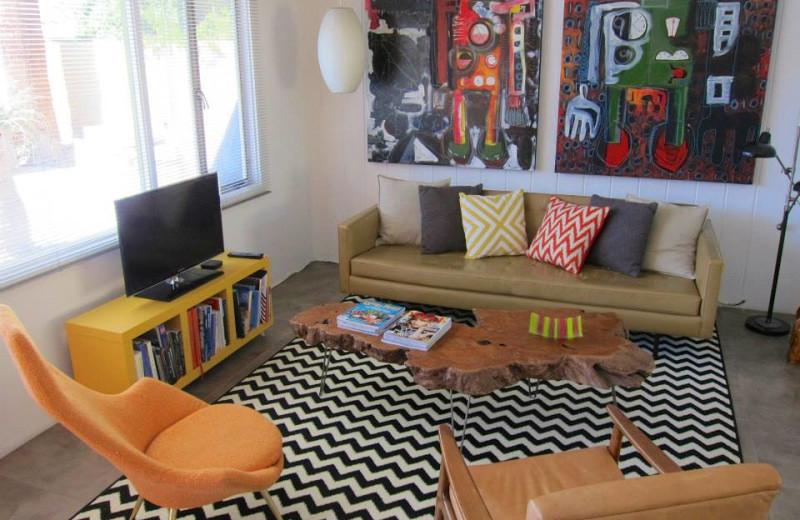 Guest living room at Desert Star Hotel.