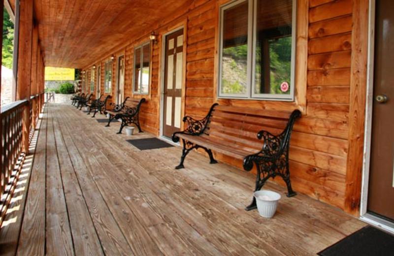 Motel porch at Smoke Hole Caverns & Log Cabin Resort.
