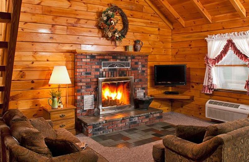 Family cabin living room at Smoke Hole Caverns & Log Cabin Resort.