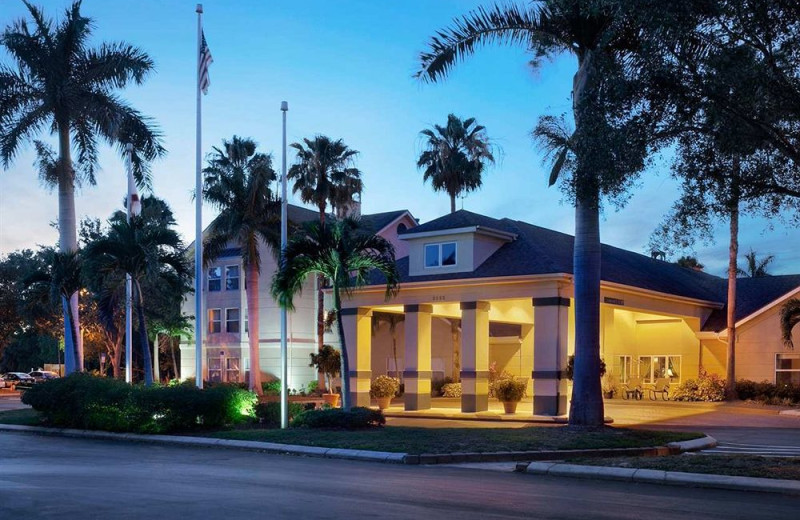 Exterior view of Homewood Suites by Hilton Ft. Myers Bell Tower Hotel.
