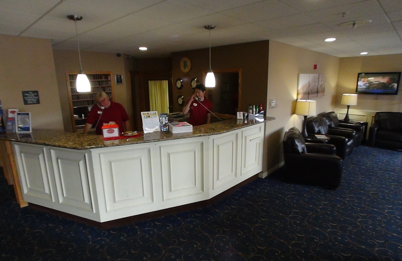 Front desk at The Cherry Tree Inn & Suites.
