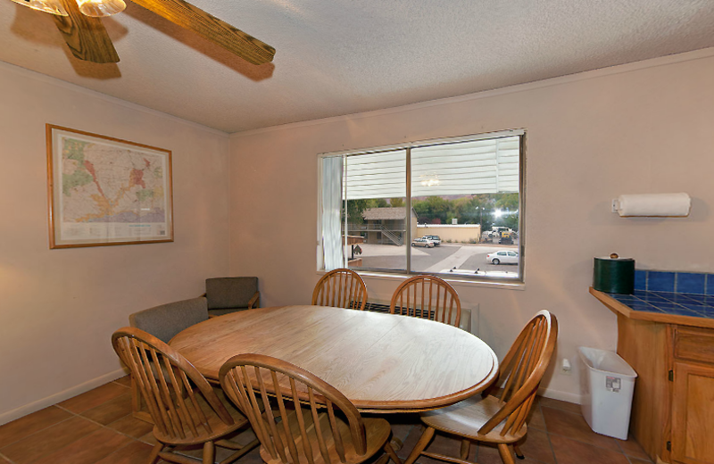 Apartment dining table at Moab Rustic Inn.