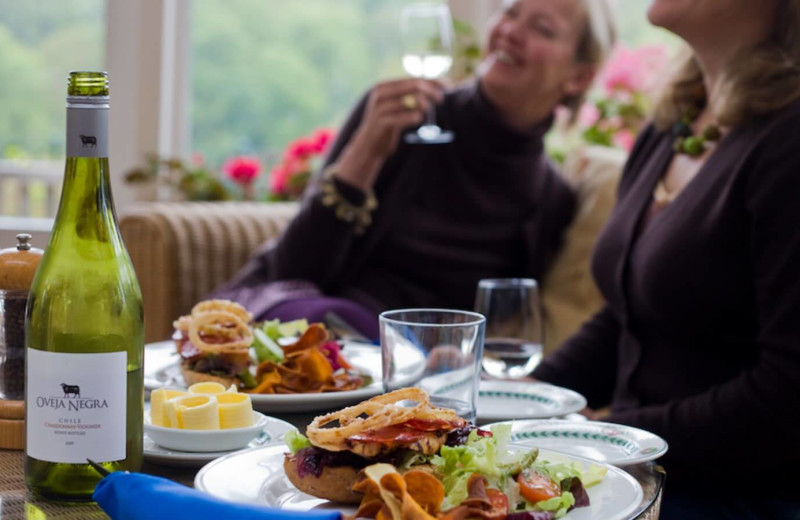 Dining at Gliffaes Country House Hotel.