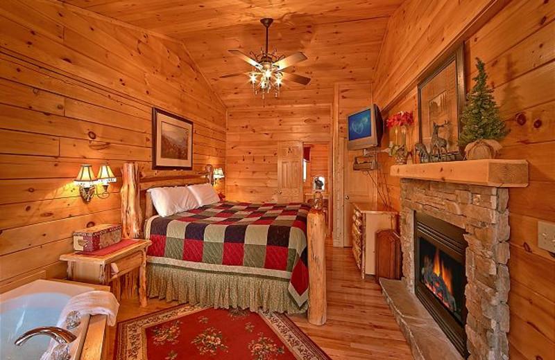 Cabin bedroom at Aunt Bug's Cabin Rentals, LLC.