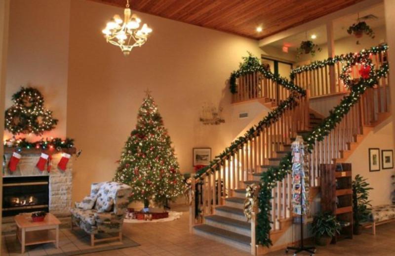 Lobby at Christmas time at Birchwood Lodge.