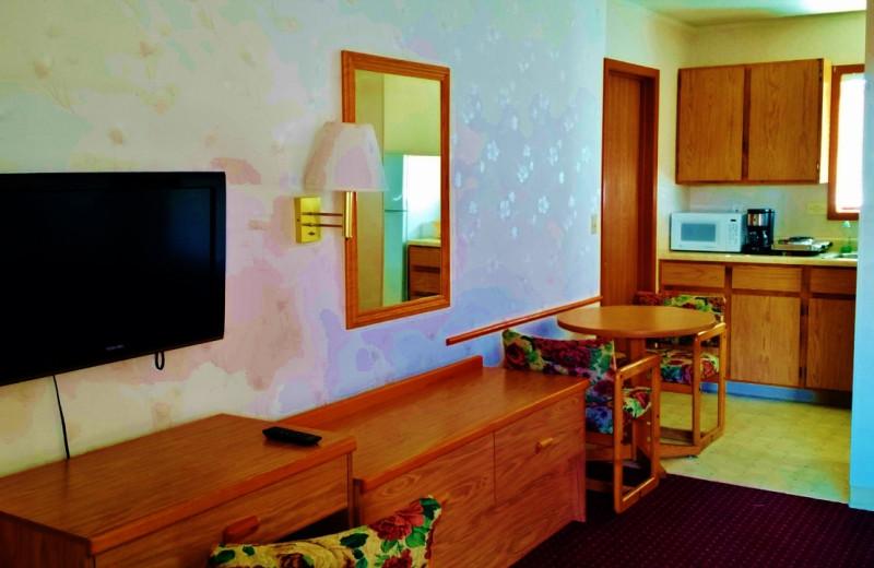 Guest living room at East Glacier Motel & Cabins.