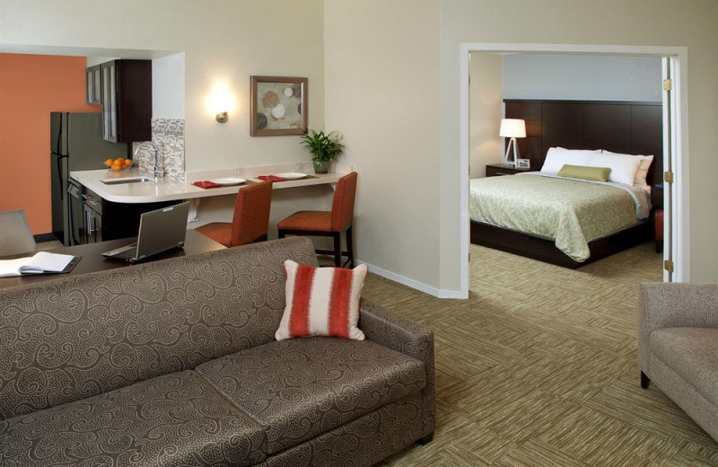 Guest room at Staybridge Suites Torrance/Redondo Beach.