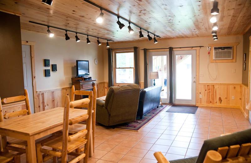 Guest living room at Campfire Bay Resort.