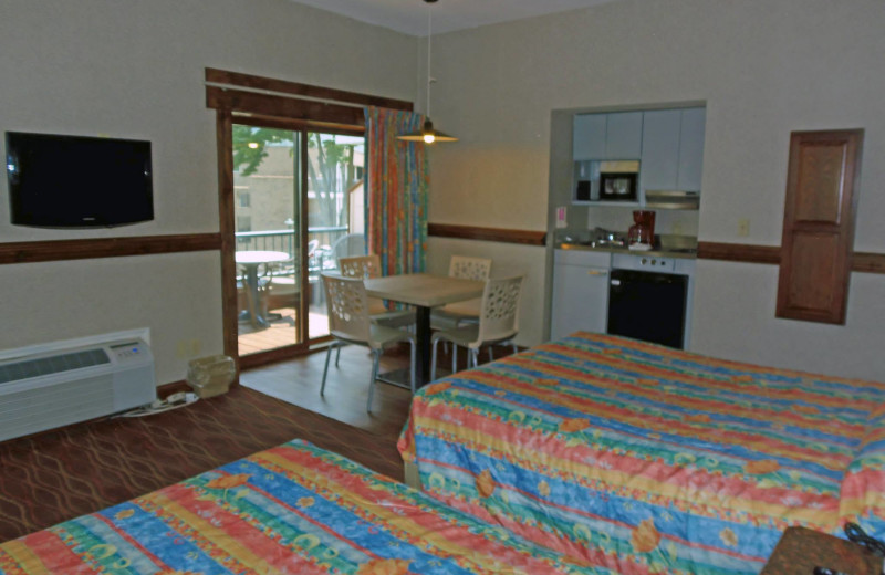 Guest room at Surfside on the Lake.