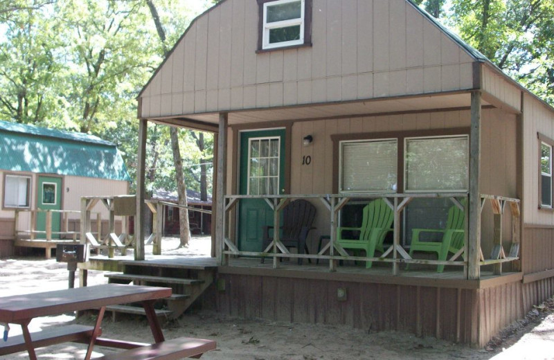 Cabin exterior at Caney Cove Resort.