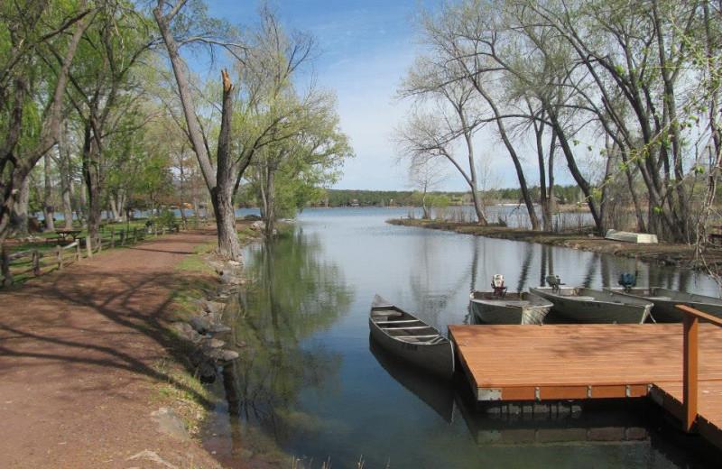 Lake dock at Lazy Oaks Resort.