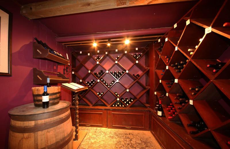 Wine cellar at Sir Sam's Inn & Spa.