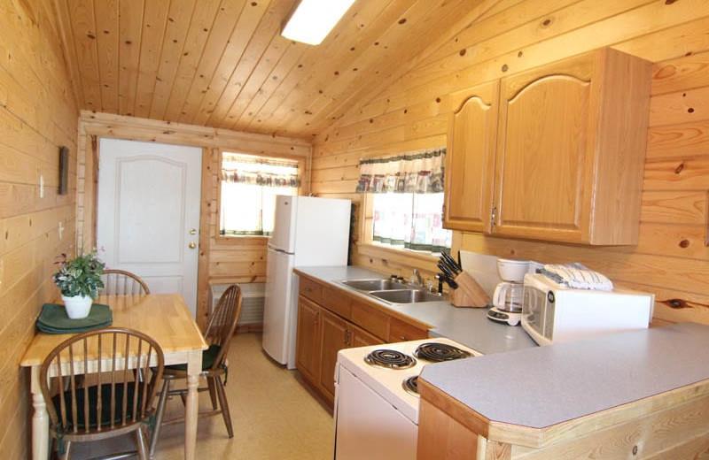 Cabin kitchen at Silver Beach Resort.