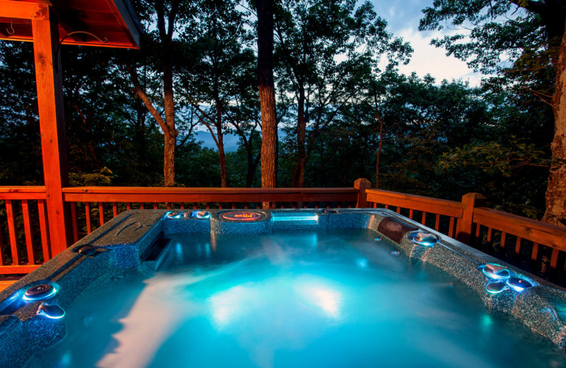 Rental hot tub at Nevaeh Cabin Rentals.