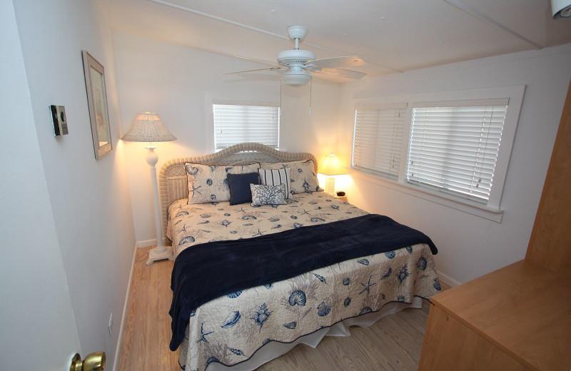 Cottage bedroom at Gulf Breeze Cottages.