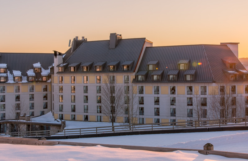 Winter exterior at Fairmont Tremblant Resort.