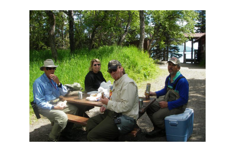Dining at Naknek River Camp.
