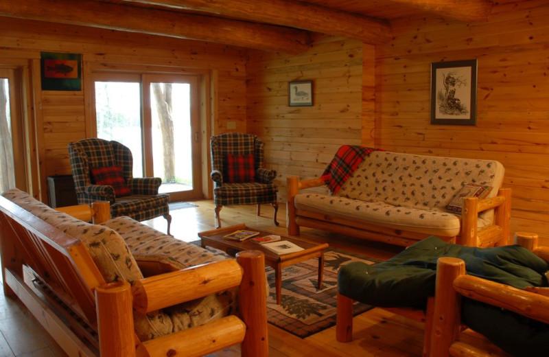 Cabin living room at Buckhorn on Caribou.