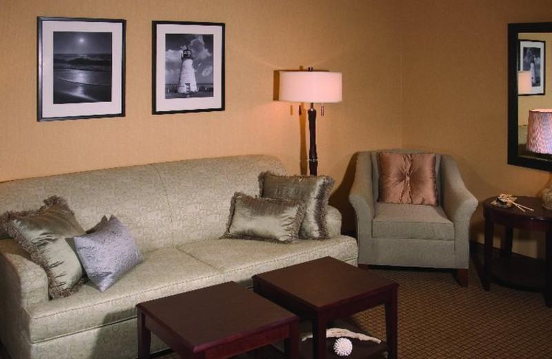 Suite living room at Hilton Suites Ocean City Oceanfront.