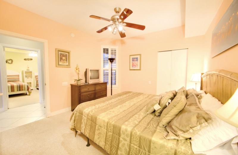 Rental bedroom at Beach Colony Resort.