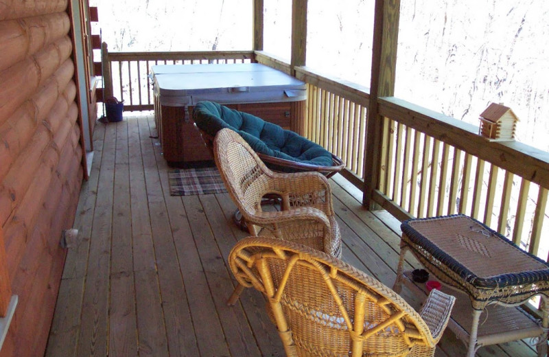 Cabin deck at Alpenhaus Cabins.