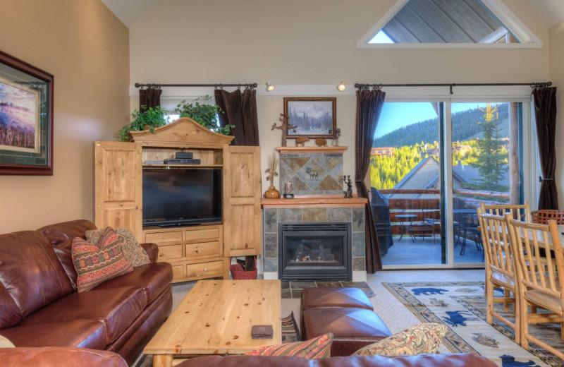 Rental living room at Moonlight Rentals in Big Sky.