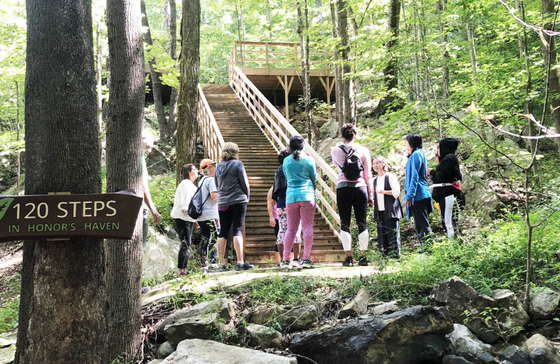 Hiking at Honor's Haven Retreat & Conference.