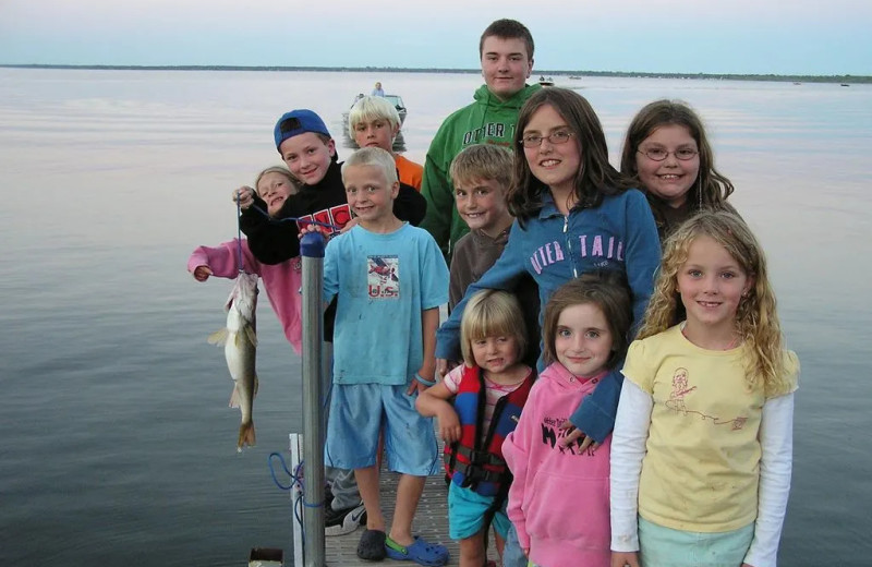 Family fishing at The Lodge on Otter Tail Lake.