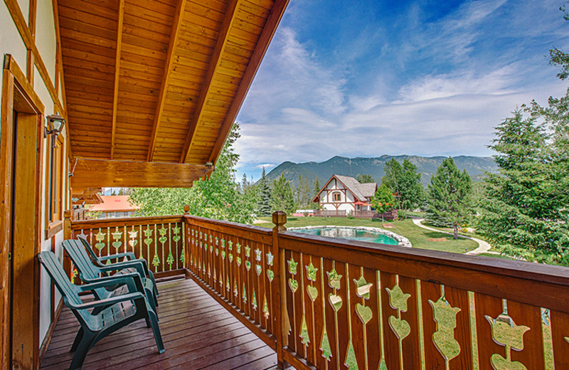 Cabin porch at Great Northern Resort.
