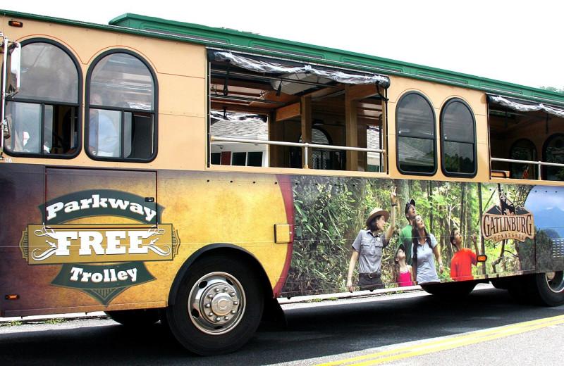 Tour bus at Old Creek Lodge.