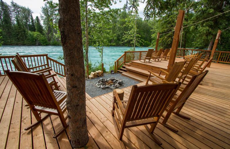 Deck view at Kenai Riverside Lodge.