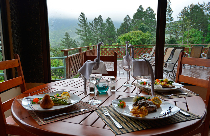 Dining at Arenal Observatory Lodge.