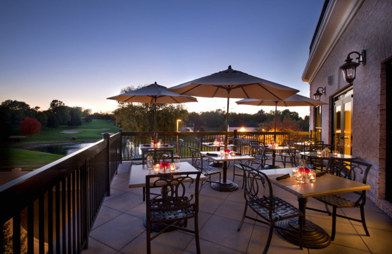 Outdoor patio at Lancaster DoubleTree Resort by Hilton.