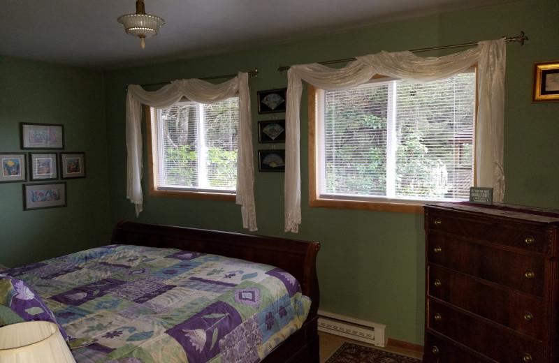 Rental bedroom at Oceanfront Getaways.