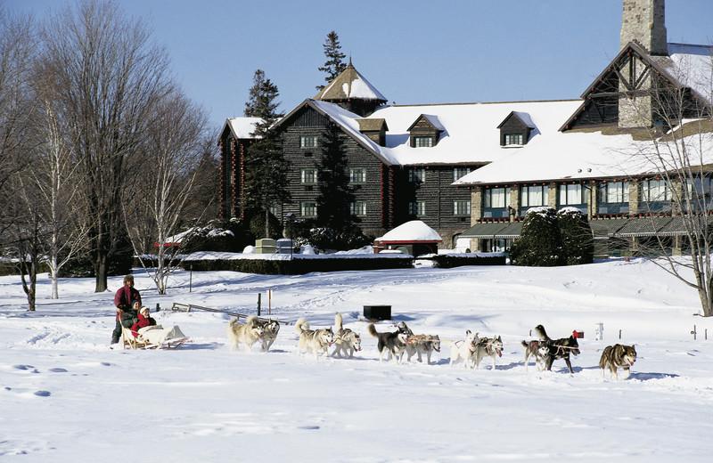 Dog sledding at Fairmont Le Chateau Montebello.