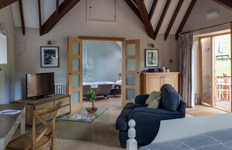 Guest room at Tudor Farmhouse Hotel.