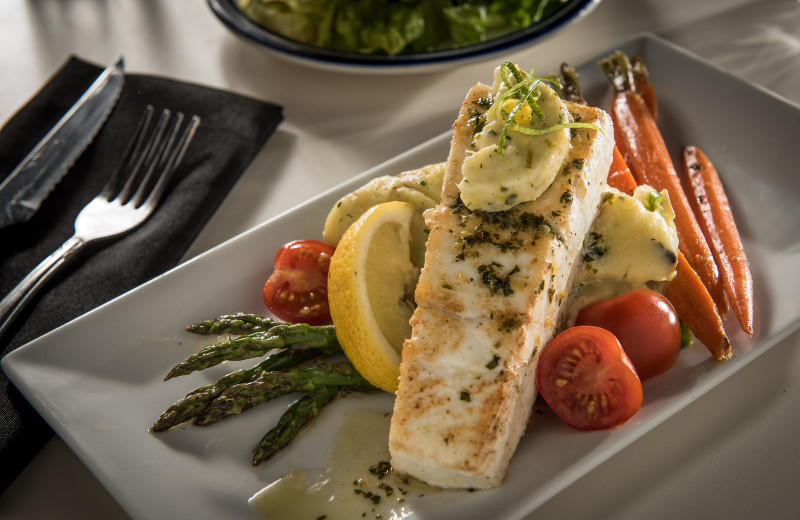 Fresh Halibut at Timbers Restaurant, Salmon Falls Resort