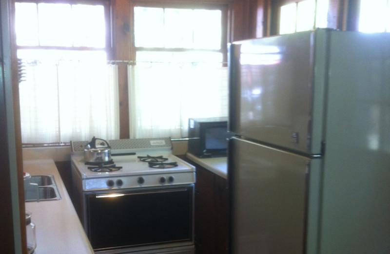 Cabin kitchen at Radtke's Sabinois Point Resort.